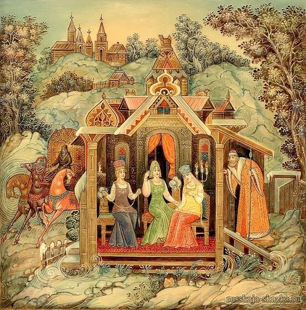 царь Салтан под окном, Сказка о царе Салтане, читать онлайн с картинками, лаковая миниатюра Палех, Федоскино, Мстера, Холуй, иллюстрации художников