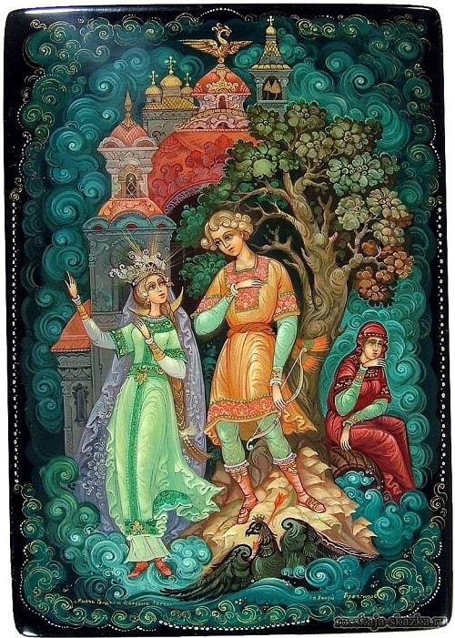 царевна лебедь, очень популярная русская сказка Александра Сергеевича Пушкина о царе Салтане с большим количеством красивых красочных картинок для ребят