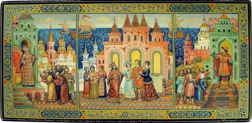 царь Салтан увидел свою царевну, произведения великого русского поэта Пушкина для детей читать с картинками