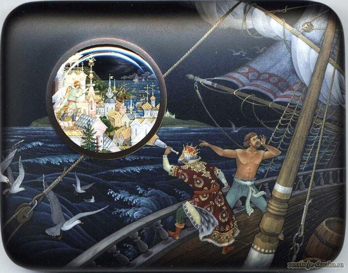 Царь на палубе стоит И в трубу на них глядит, любимая наша сказка о царе Салтане, весь текст полностью читать бесплатно и без регистрации онлайн прямо сейчас с картинками и крупным шрифтом