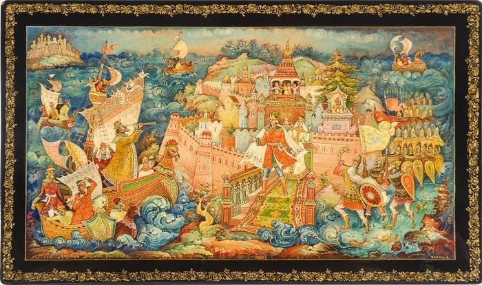 царь Салтан прибыл к Гвидону, Волшебная добрая сказка для детей детского сада и школьного возраста о том как заточили царевну с ребёнком в бочку и кинули в море океан
