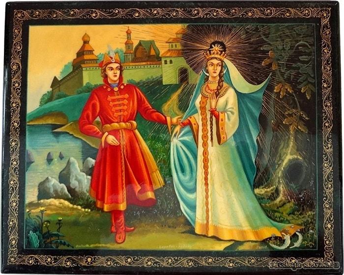 А сама-то величава, Выступает, будто пава, читайте сказку о царе Салтане, автор Пушкин Александр Сергеевич, сказка полностью, крупный шрифт, много красивых картинок, рисунков, иллюстраций русских художников
