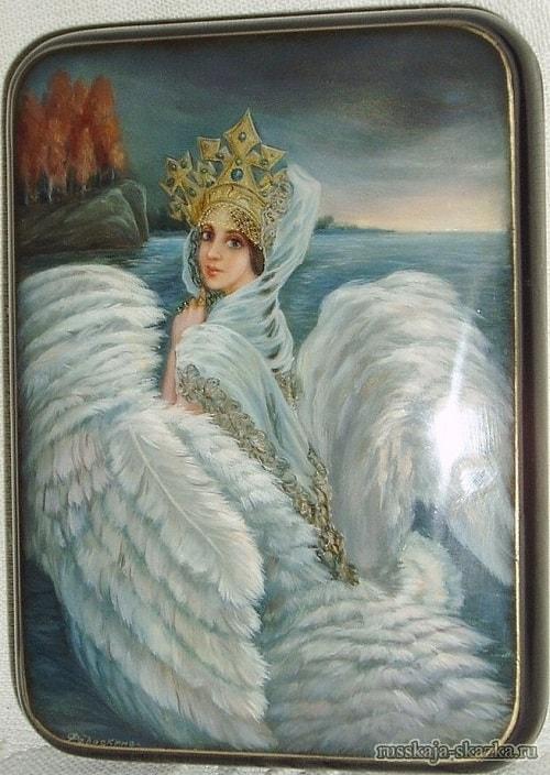 Царевна-лебедь, детям легко читать сказку о царе Салтане, когда в ней много картинок и крупный шрифт текста