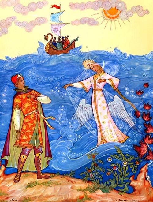 Тут она, взмахнув крылами, Полетела над волнами, автор сказки о царе Салтане Александр Сергеевич Пушкин гений русской словесности, это одна из лучших его сказок