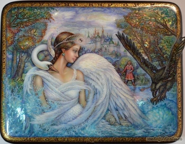 Лаковая миниатюра к сказке о царе Салтане, царевна лебедь