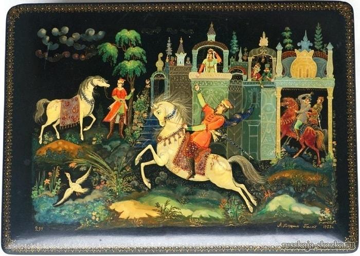 Гонец с письмом, лаковая миниатюра Палех, произведения великого русского поэта Пушкина для детей читать с картинками