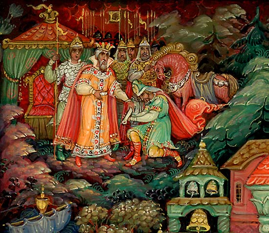 Гонец доставил письмо царю Салтану, детская литература, книги Пушкина, читать сейчас онлайн для детей и родителей сказку о князе Гвидоне, царе Салтане, царевне Лебеди, острове Буяне