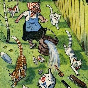 Федорино горе, Чуковский К.И., читать детскую сказку в стихах онлайн весь текст крупный шрифт бесплатно про то как от бабушки старушки Федоры убежала посуда