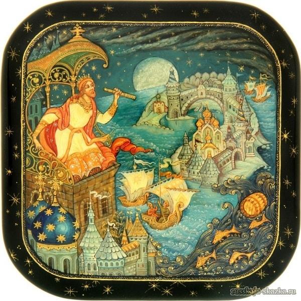 Под окном Гвидон сидит, Молча на море глядит, Сказка о царе Салтане, читать онлайн с картинками, лаковая миниатюра Палех, Федоскино, Мстера, Холуй, иллюстрации художников