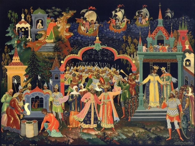 Сказка о царе Салтане, любимая наша сказка о царе Салтане, весь текст полностью читать бесплатно и без регистрации онлайн прямо сейчас с картинками и крупным шрифтом