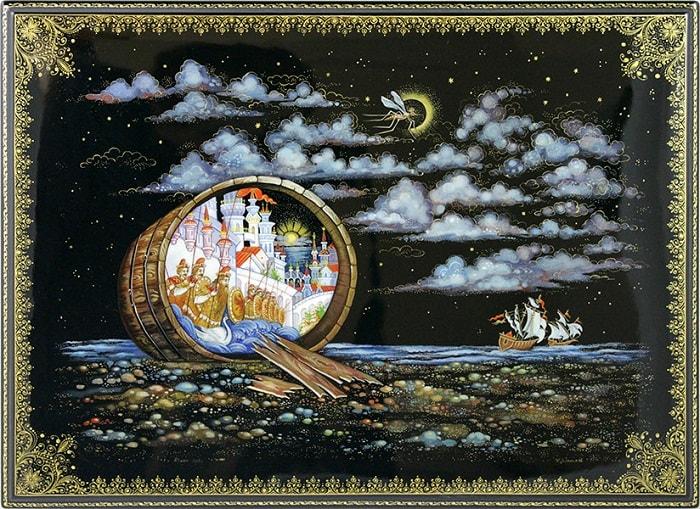 князь Гвидон комар , очень популярная русская сказка Александра Сергеевича Пушкина о царе Салтане с большим количеством красивых красочных картинок для ребят