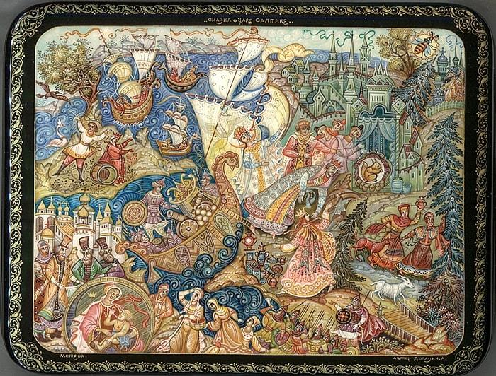 В царство славного Салтана, читайте сказку о царе Салтане, автор Пушкин Александр Сергеевич, сказка полностью, крупный шрифт, много красивых картинок, рисунков, иллюстраций русских художников
