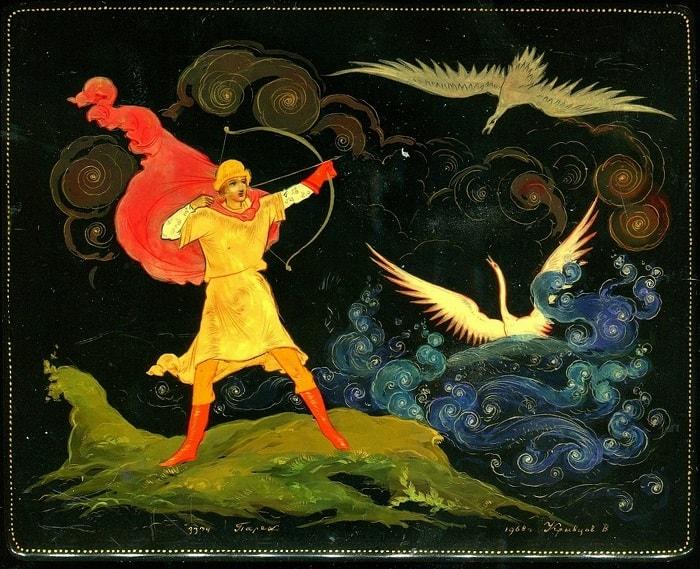князь Гвидон спас царевну лебедь, произведения великого русского поэта Пушкина для детей читать с картинками