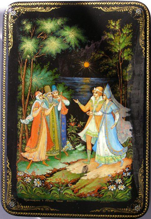 И ведет ее скорей К милой матушке своей, очень популярная русская сказка Александра Сергеевича Пушкина о царе Салтане с большим количеством красивых красочных картинок для ребят
