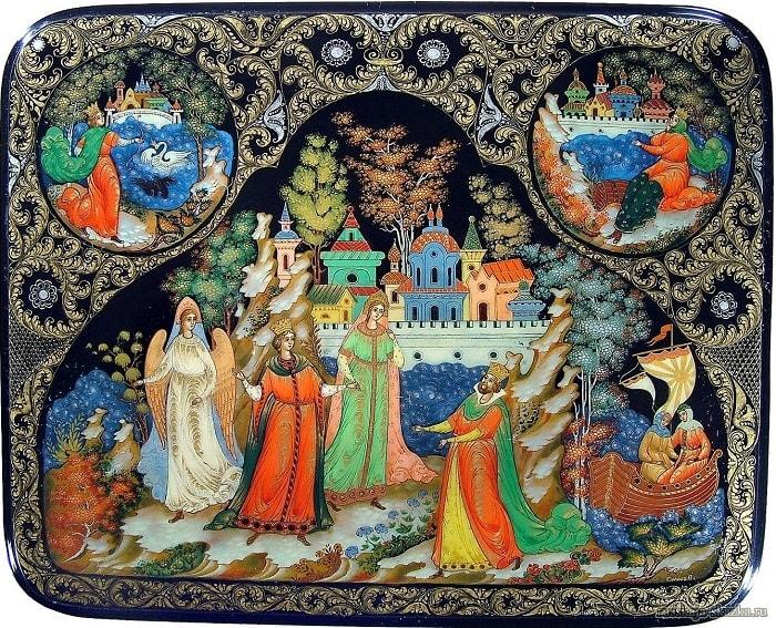 сказка о царе Салтане, читать онлайн с картинками, лаковая миниатюра Палех, Федоскино, Мстера, Холуй, иллюстрации художников