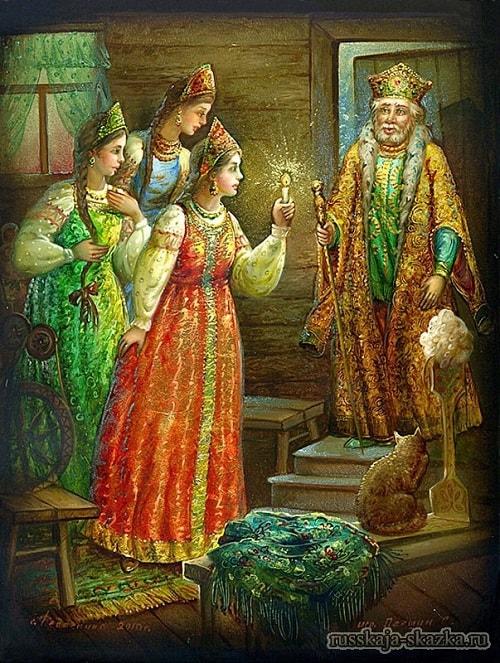 Федоскино, царь Салтан, золотая коллекция сказок Пушкина А.С. с картинками для детей