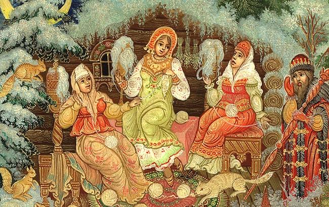 Три девицы, приучение детей к чтению русских сказок, крупный шрифт, много иллюстраций русских художников