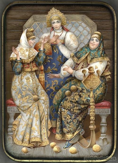 Лаковая миниатюра Три девицы, любимая наша сказка о царе Салтане, весь текст полностью читать бесплатно и без регистрации онлайн прямо сейчас с картинками и крупным шрифтом