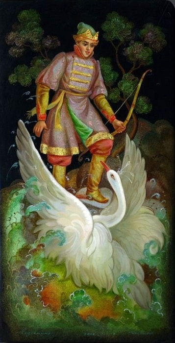 царевна лебедь благодарит князя Гвидона, Федоскино