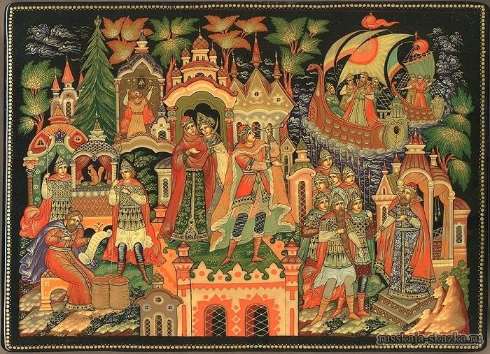 И в лазоревой дали Показались корабли, читайте сказку о царе Салтане, автор Пушкин Александр Сергеевич, сказка полностью, крупный шрифт, много красивых картинок, рисунков, иллюстраций русских художников