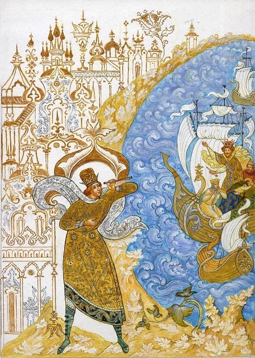 Флот уж к острову подходит. Князь Гвидон трубу наводит, очень популярная русская сказка Александра Сергеевича Пушкина о царе Салтане с большим количеством красивых красочных картинок для ребят