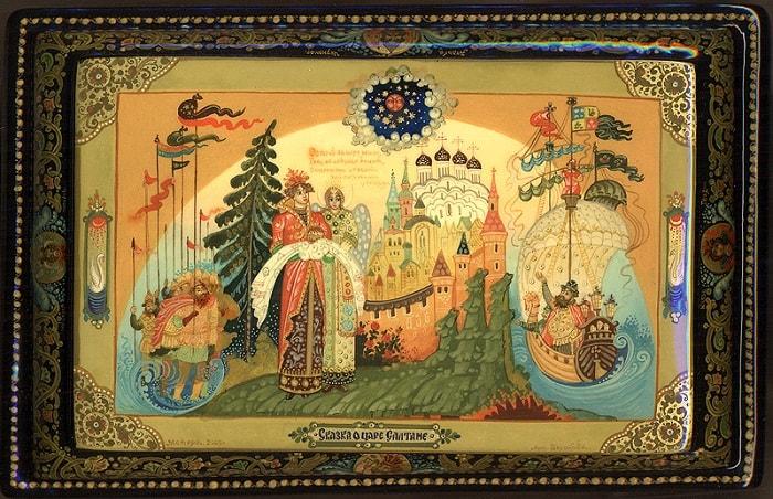 князь Гвидон встречает отца, произведения великого русского поэта Пушкина для детей читать с картинками