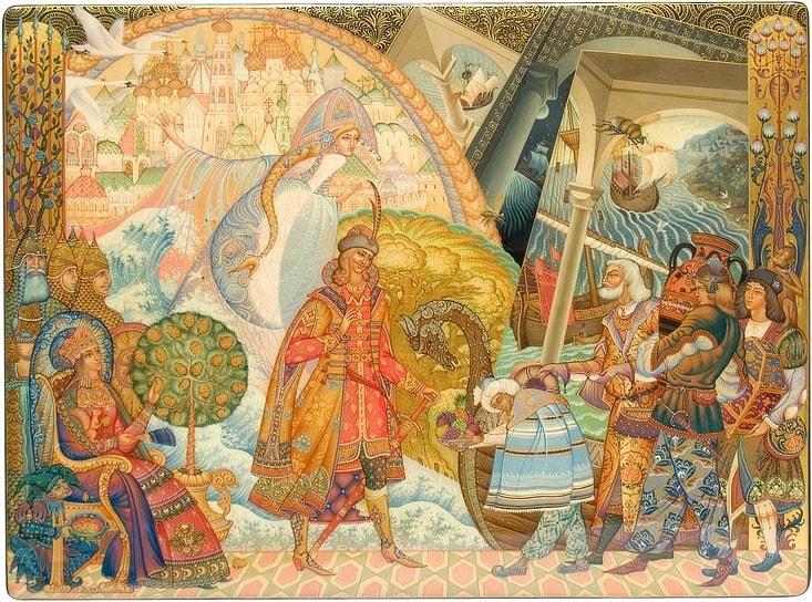 Чем вы, гости, торг ведете И куда теперь плывете, популярная сказка Пушкина о царе Салтане с фотографиями работ мастеров русской лаковой миниатюры и других народных промыслов