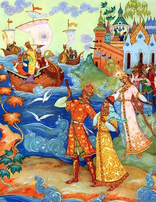 Посмотрите вы туда: Едет батюшка сюда, Куркин открытки, сказка о царе Салтане