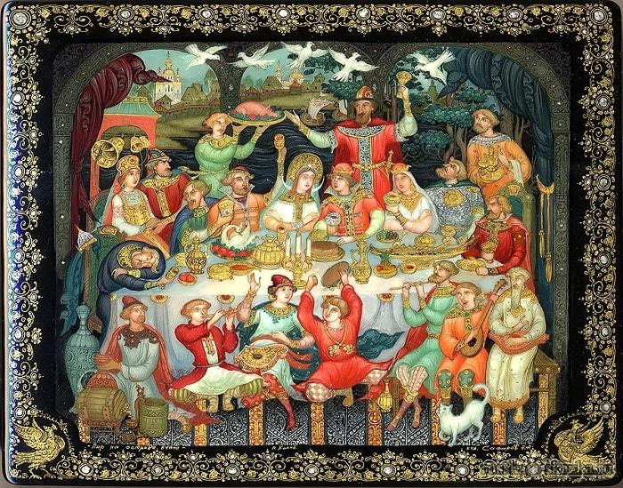 Князь не долго собирался, На царевне обвенчался, читать сказку Пушкина о царе Салтане онлайн бесплатно с красивыми красочными картинками