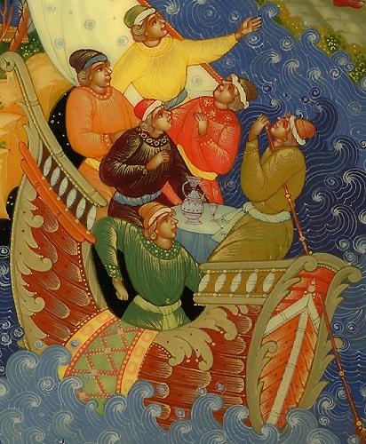 Корабельщики, детская литература, книги Пушкина, читать сейчас онлайн для детей и родителей сказку о князе Гвидоне, царе Салтане, царевне Лебеди, острове Буяне