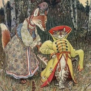 Кот и лиса русская народная сказка для детей читать книга крупный шрифт онлайн бесплатно картинка иллюстрация