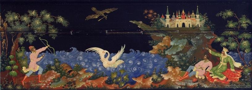 картина Палех, сказка о царе Салтане, золотая коллекция сказок Пушкина А.С. с картинками для детей