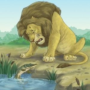 Лев, щука и человек русская народная сказка читать онлайн крупный шрифт книга детская литература для школы и детского сада бесплатно картинка