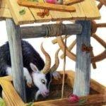 Лиса и козел русская народная сказка картинка иллюстрация для детей читать крупный шрифт книга онлайн