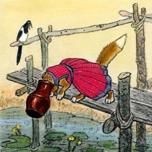 Лиса и кувшин русская народная сказка  картинка читать для детей бесплатно онлайн крупный шрифт
