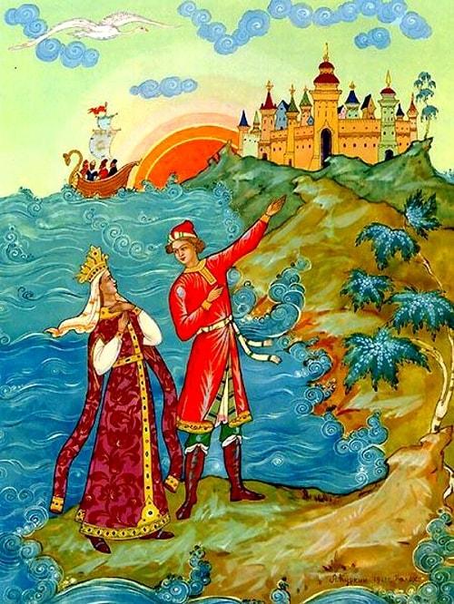 царь Салтан, Куркин, открытки, произведения великого русского поэта Пушкина для детей читать с картинками