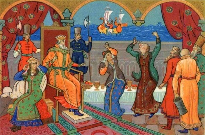 Прямо на нос к ней садится, очень популярная русская сказка Александра Сергеевича Пушкина о царе Салтане с большим количеством красивых красочных картинок для ребят
