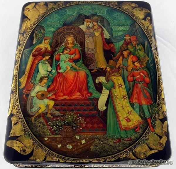 грамота царя Салтана, очень популярная русская сказка Александра Сергеевича Пушкина о царе Салтане с большим количеством красивых красочных картинок для ребят