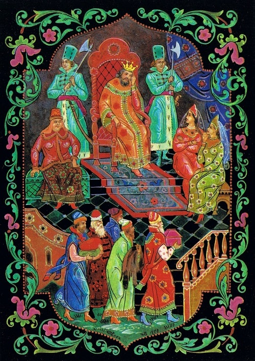 Царь Салтан сидит в палате, детская литература, книги Пушкина, читать сейчас онлайн для детей и родителей сказку о князе Гвидоне, царе Салтане, царевне Лебеди, острове Буяне