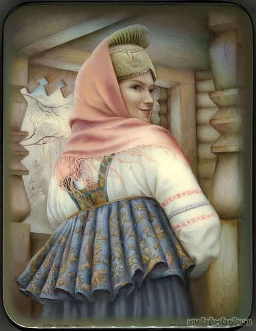 Сватья баба Бабариха, Федоскино, миниатюра, Сказка о царе Салтане, читать онлайн с картинками, лаковая миниатюра Палех, Федоскино, Мстера, Холуй, иллюстрации художников