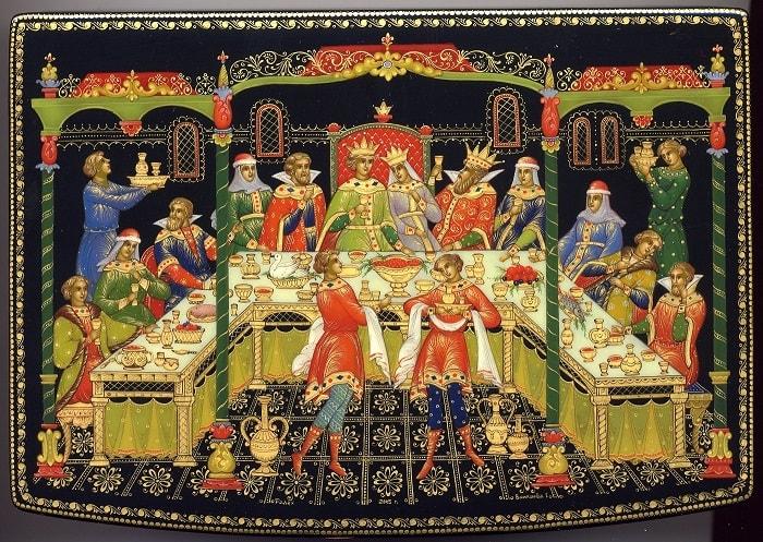 Я там был; мед, пиво пил - И усы лишь обмочил, приучение детей к чтению русских сказок, крупный шрифт, много иллюстраций русских художников