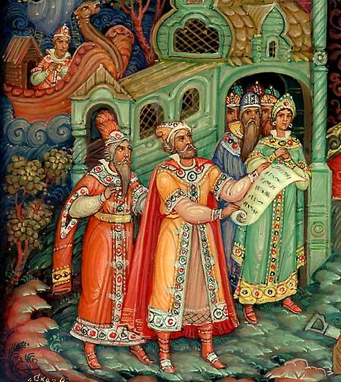 Гонец привёз грамоту от царя Салтана, любимая наша сказка о царе Салтане, весь текст полностью читать бесплатно и без регистрации онлайн прямо сейчас с картинками и крупным шрифтом