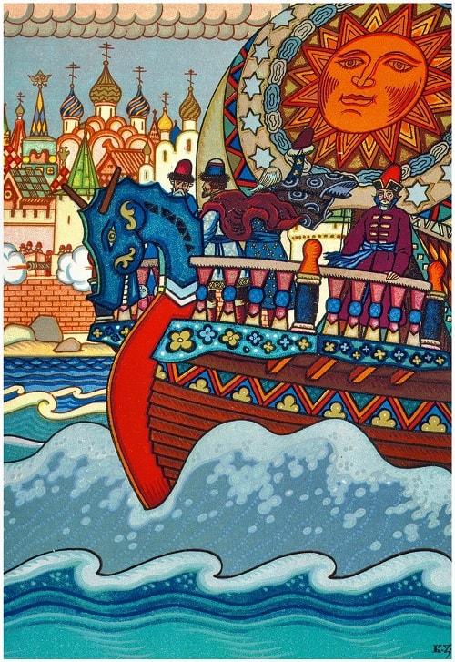 Пушки с пристани палят, Кораблю пристать велят, детям легко читать сказку о царе Салтане, когда в ней много картинок и крупный шрифт текста