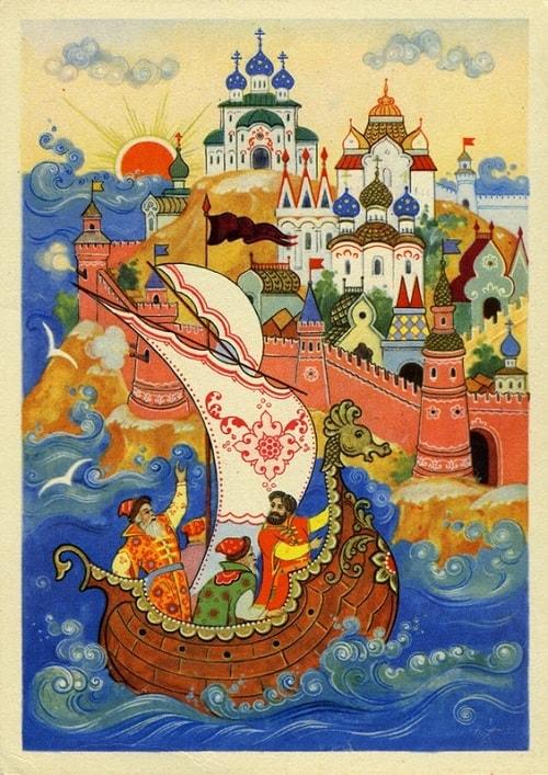 Пушки с пристани палят, Волшебная добрая сказка для детей детского сада и школьного возраста о том как заточили царевну с ребёнком в бочку и кинули в море океан