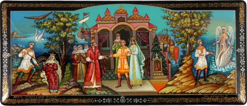князь Гвидон встречает царя Салтана, золотая коллекция сказок Пушкина А.С. с картинками для детей