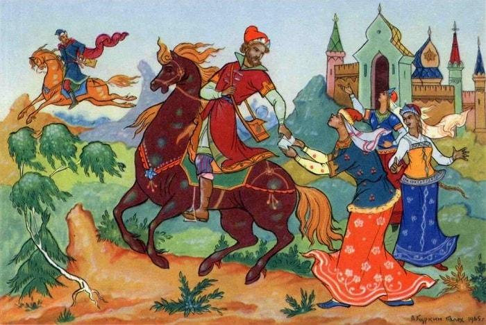 подмена письма, читайте сказку о царе Салтане, автор Пушкин Александр Сергеевич, сказка полностью, крупный шрифт, много красивых картинок, рисунков, иллюстраций русских художников