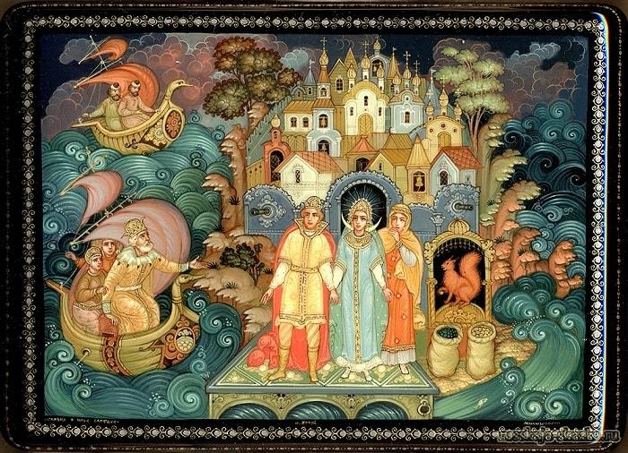 Удивляются оне Незнакомой стороне, приучение детей к чтению русских сказок, крупный шрифт, много иллюстраций русских художников