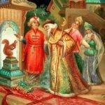 Сказка о царе Салтане, Пушкин А.С., читать с красивыми картинками для детей, крупный шрифт, иллюстрации рисунки лаковая миниатюра палех федоскино мстера холуй