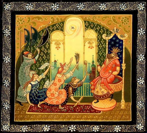 Тётке сел на левый глаз, детям легко читать сказку о царе Салтане, когда в ней много картинок и крупный шрифт текста