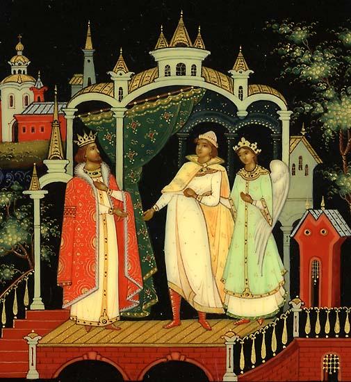 князь Гвидон встречает царя Салтана, читайте сказку о царе Салтане, автор Пушкин Александр Сергеевич, сказка полностью, крупный шрифт, много красивых картинок, рисунков, иллюстраций русских художников